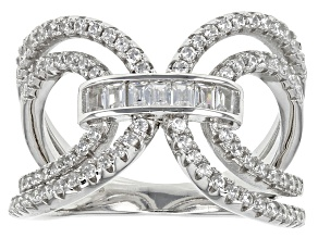 White Cubic Zirconia Rhodium Over Sterling Silver Ring 1.20ctw