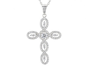 White Cubic Zirconia Rhodium Over Sterling Silver Pendant With Chain 1.21ctw