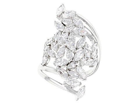 White Cubic Zirconia Rhodium Over Sterling Silver Ring 4.92ctw