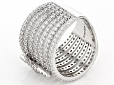 White Cubic Zirconia Rhodium Over Sterling Silver Ring 3.21ctw