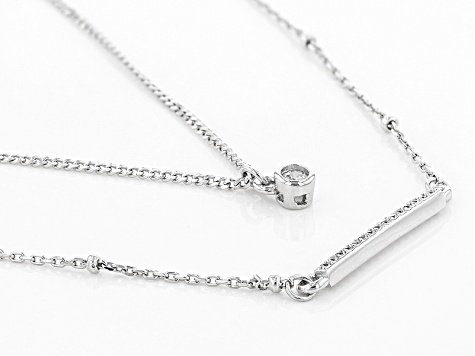 White Cubic Zirconia Rhodium Over Sterling Silver Necklace 1.59ctw