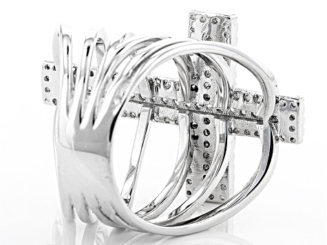 White Cubic Zirconia Rhodium Over Sterling Silver Cross Ring .94ctw