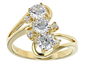White Cubic Zirconia 18k Yg Over Sterling Silver Ring 2.40ctw