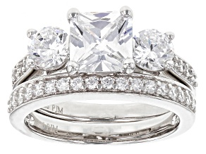 White Cubic Zirconia Rhodium Over Sterling Silver Ring With Band 3.64ctw