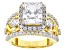 White Cubic Zirconia 18k Yellow Gold Over Sterling Silver Ring 8.03ctw