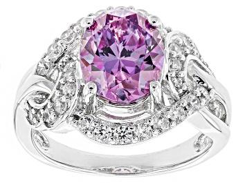 Picture of Swarovski ® Purple Zirconia & White Cubic Zirconia Rhodium Over Silver Ring 5.25ctw