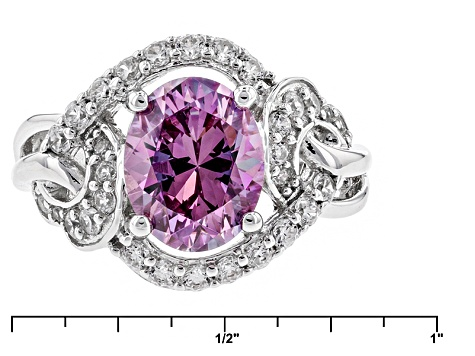 Swarovski ® Purple Zirconia & White Cubic Zirconia Rhodium Over Silver Ring 5.25ctw