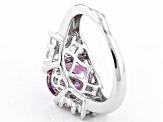 Swarovski ® Purple Zirconia & White Cubic Zirconia Rhodium Over Silver Ring 5.91ctw