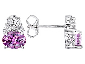 Swarovski ® Purple Zirconia & White Cubic Zirconia Rhodium Over Silver Earrings 3.12ctw