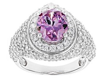 Picture of Swarovski ® Purple Zirconia & White Cubic Zirconia Rhodium Over Silver Ring 8.08ctw
