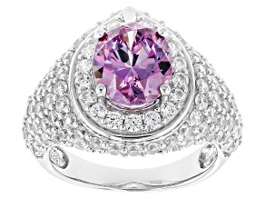 Swarovski ® Purple Zirconia & White Cubic Zirconia Rhodium Over Silver Ring 8.08ctw
