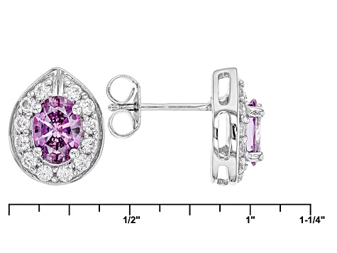 Swarovski ® Purple Zirconia & White Cubic Zirconia Rhodium Over Silver Earrings 3.48ctw