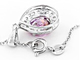 Swarovski ® Purple Zirconia & White Cubic Zirconia Rhodium Over Silver Pendant With Chain 5.06ctw