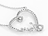 White Cubic Zirconia Rhodium Over Sterling Silver Heart And Love Necklace .47ctw