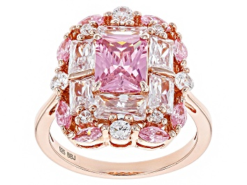Picture of Pink And White Cubic Zirconia 18k Rose Gold Over Sterling Silver Ring 6.87ctw