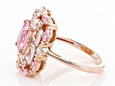 Pink And White Cubic Zirconia 18k Rose Gold Over Sterling Silver Ring 6.87ctw