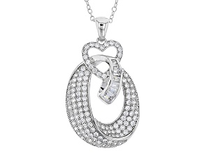 White Cubic Zirconia Rhodium Over Sterling Silver Pendant With Chain 2.94ctw