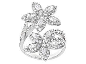 White Diamond Simulant Rhodium Over Sterling Silver Floral Ring 3.53ctw