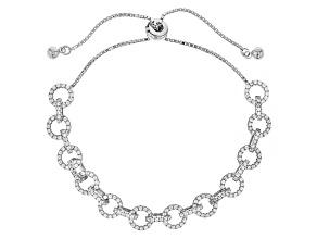 White Cubic Zirconia Rhodium Over Sterling Silver Adjustable Bracelet 2.11ctw