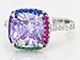 Purple, White, Red, Blue, And Green Cubic Zirconia Rhodium Over Sterling Silver Ring 3.10ctw
