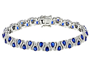 Blue Created Spinel And White Cubic Zirconia Rhodium Over Sterling Silver Bracelet 27.34ctw