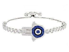 Blue Created Spinel White/Black Cubic Zirconia Rhodium Over Sterling Silver Bracelet 25.30ctw