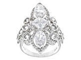 White Cubic Zirconia Rhodium Over Sterling Silver Ring 8.19ctw