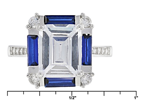 Lab Created Blue Spinel And White Cubic Zirconia Rhodium Over Sterling Silver Set 10.98ctw