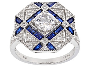 Lab Created Blue Spinel And White Cubic Zirconia Rhodium Over Sterling Silver Ring 2.71ctw