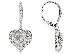 White Cubic Zirconia Rhodium Over Sterling Silver Heart Earrings .79ctw
