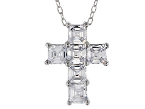 White Cubic Zirconia Rhodium Over Sterling Silver Cross Pendant With Chain 3.60ctw