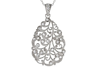 White Cubic Zirconia Rhodium Over Sterling Silver Pendant With Chain .38ctw