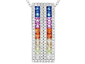 Blue Synth Spinel,White,Brown,Orange,Pink Blue,Yellow Cz Rhod Over Sterling Pendant W/Chain 3.41ctw