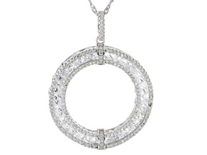 White Cubic Zirconia Rhodium Over Sterling Silver Pendant With Chain 16.58ctw