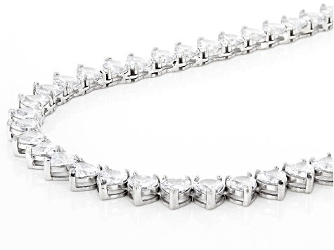 White Cubic Zirconia Rhodium Over Sterling Silver Necklace 61.20ctw