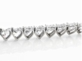White Cubic Zirconia Rhodium Over Sterling Silver Heart Necklace 61.20ctw