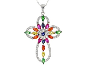 Multicolor Cubic Zirconia & Blue/Pink Synthetic Sapphire Rhodium Over Silver Cross Pendant 5.27ctw