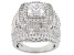 White Cubic Zirconia Rhodium Over Sterling Silver Ring 9.60ctw