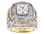 White Cubic Zirconia 18K Yellow Gold Over Sterling Silver Ring 9.60ctw