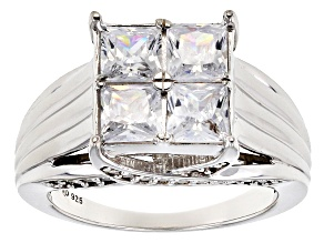 White Cubic Zirconia Rhodium Over Sterling Silver Ring 3.96ctw