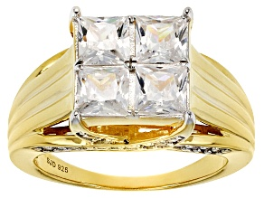 White Cubic Zirconia 18k Yellow Gold Over Sterling Silver Ring 3.96ctw