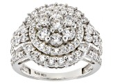 White Cubic Zirconia Rhodium Over Sterling Silver Ring 4.10ctw
