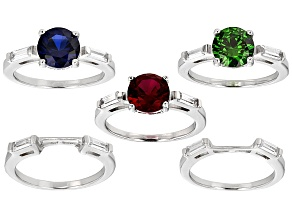 Synthetic Blue Spinel,Red Corundum, Green/White Cz Rhodium Over Sterling Rings 12.92ctw