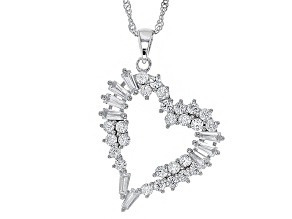 White Cubic Zirconia Rhodium Over Sterling Silver Pendant With Chain 3.43ctw