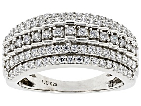 White Cubic Zirconia Rhodium Over Sterling Silver Ring 1.35ctw
