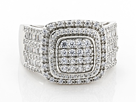 White Cubic Zirconia Platinum Over Sterling Silver Ring 1.70ctw