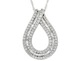 White Cubic Zirconia Platinum Over Sterling Silver Pendant With Chain 3.85ctw