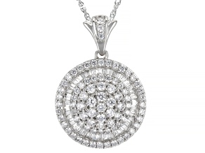 White Cubic Zirconia Rhodium Over Sterling Silver Pendant With Chain 3.70ctw