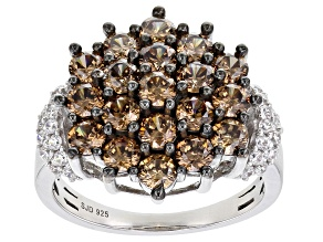 Mocha And White Cubic Zirconia Rhodium Over Sterling Silver Ring 4.85ctw