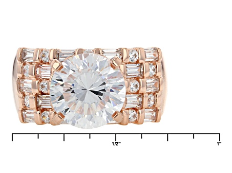 Cubic Zirconia 18k Rose Gold Over Sterling Silver Ring 8.48ctw
